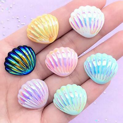 Clam Seashell AB Lustre Cabochons Flatback Resin Mixed Colour 21mm X 19mm Beach • 3.49£