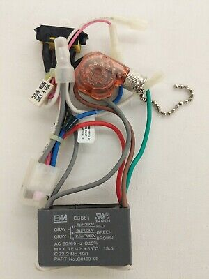 hunter ceiling fan new part - wiring harness - 3-speed capacitor, rev/