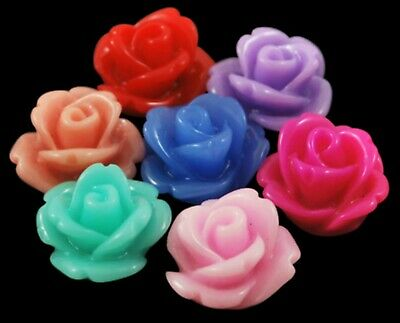 £3.49 • Buy 50 X Rose Flower Cabochons Flatback Resin Mixed Colour 10mm X 6.5mm Vintage