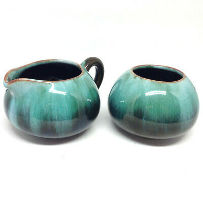 $ CDN21.21 • Buy Vintage Blue Mountain Pottery Cream & Sugar BMP Green Glaze Felt Base Canada