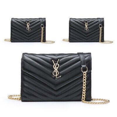 Women CLUTCH AND CROSS BODY BAGS Gold Chain Ladies Evening Bag Quilted Handbag  • 34.99£