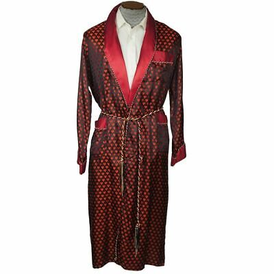 $214.50 • Buy Vintage Mens Dressing Gown Woven Satin Robe With Hearts - Size M