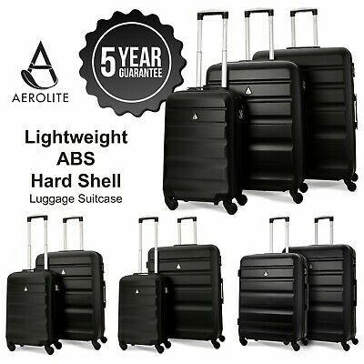 Aerolite Black ABS Hard Shell 4 Wheel Hand Cabin Hold Check In Luggage Suitcase • 52.99£