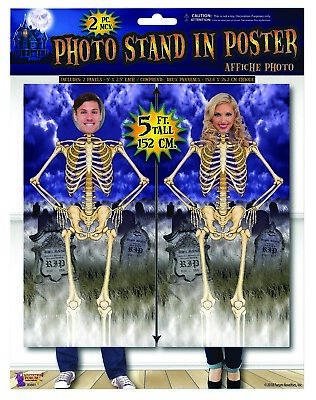 $10.95 • Buy 2 5' Panels Face Cut-Out Skeleton Posters Halloween Haunted House Decoration