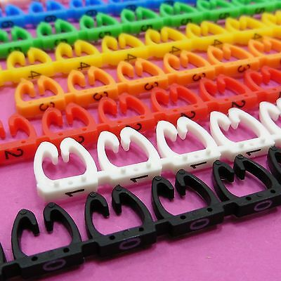 Colorful Cable Markers C-Type Label 5-8mm For UTP FTP LAN Number Tag 0-9 Cat6 • 4.44£