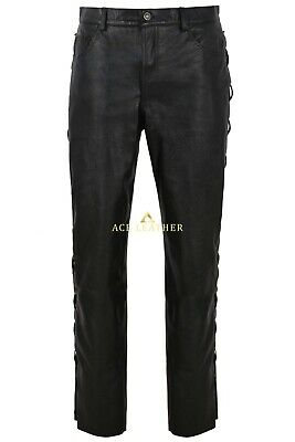 £110 • Buy Men's Real Leather Biker Trouser Black Cowhide Classic Fashion Style 00126