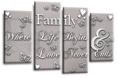 Black White Family Quote Wall Art Canvas Powder Grey Love Picture 4Panel Split • 29.99£