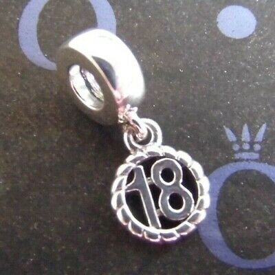 New Eighteen Pandora Happy 18th Birthday Charm S925ale With Free Pouch 790495 • 16.99£