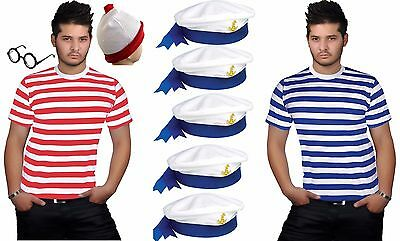 New Men's Red & White Blue Stripe T-shirt Sailor Hat Adult Fancy Dress Outfit • 2.99£