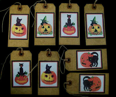 $ CDN5.04 • Buy Crazy Black Cat Primitive Halloween Hang Tags From Vintage Postcards - Eight