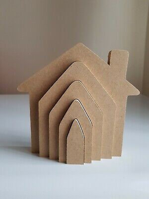 £5.45 • Buy Mdf Craft Shape. Wooden 3d House Stacker. 18mm Free Standing