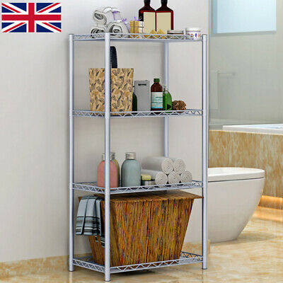 £17.99 • Buy 4 Tier Silver Metal Storage Rack/Shelving Wire Shelf Kitchen/Office Unit Stand