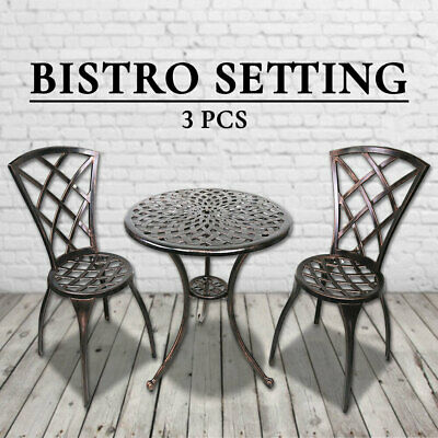 AU199 • Buy 3PCS Bistro Setting Bronze Outdoor Cast Aluminium Table Chair Set Patio Garden