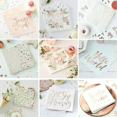 £4.95 • Buy ROSE GOLD Party NAPKINS Tableware Wedding Hen Party Baby Christening Birthday
