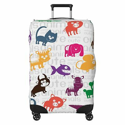 Cute Animals Kids SUITCASE COVER Skin Protector White • 22.99£