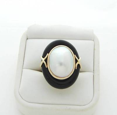 $840 • Buy  Onyx Pearl Ring Large Oval Mabe Pearl Onyx Ring Reduced