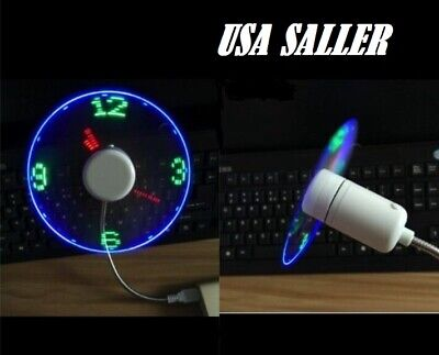 AU13.82 • Buy  USB Powered LED Cooling Neon Real Time Display Function Clock Fan SPTIME US