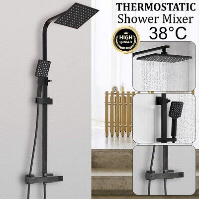Black Shower Set Bathroom Thermostatic Mixer Square Twin Head Exposed Valve UK • 87.99£