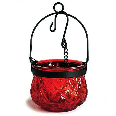 £7.98 • Buy Recycled Hanging Ruby Glass Moroccan Style Candle Holder (BOLUZ-28)