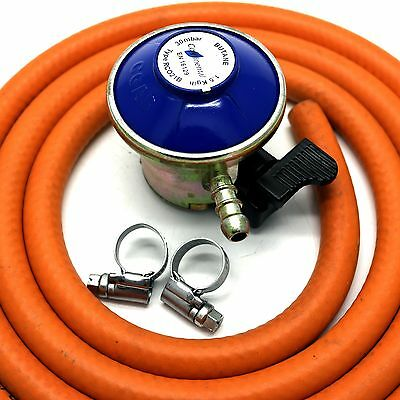 BUTANE GAS REGULATOR With 2m HOSE & 2 CLIPS Fits Calor Gas /Flogas 21mm Cylinder • 11.99£