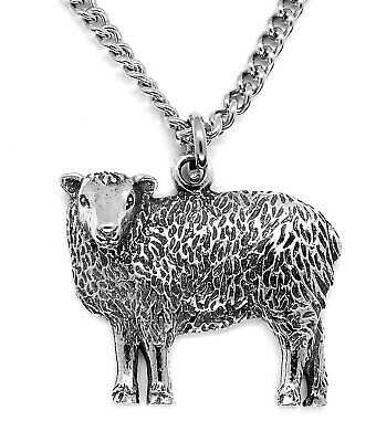 Sheep Pewter Pendant Necklace With Steel Chain And Lemon Pouch • 7.50£