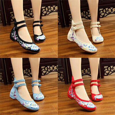 £12.99 • Buy Women Dance Flat Shoes Chinese Style Old Peking Embroidered Flower Cloth Shoes