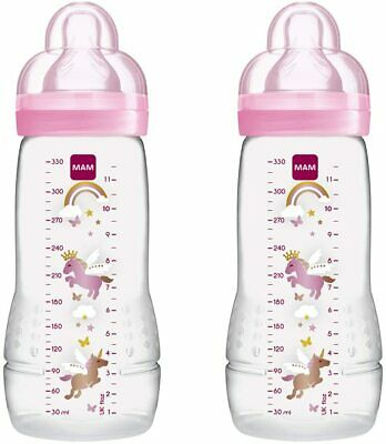 £14.32 • Buy MAM Baby Feeding 330 Ml Bottles With Silk Teats Pack Of 2-Pink (Design May Vary)
