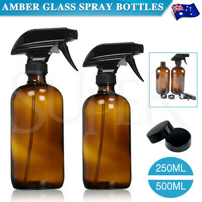 AU8.99 • Buy Amber Round Glass Spray Bottles Refillable Container Essential Oils Aromatherapy