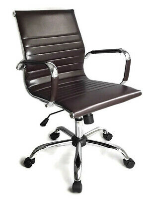 Milano Eames Style Office Chair PU Leather Swivel Computer Desk Gaming Seat • 99.99£