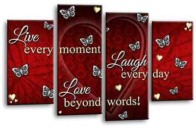 Love Live Laugh Quote Canvas Wall Art Picture Print Grey Red Purple Split 4Panel • 29.99£