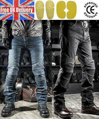Mens Fitted Motorcycle Jeans Motorbike Pants Denim Trousers Off Road Pad • 39.99£