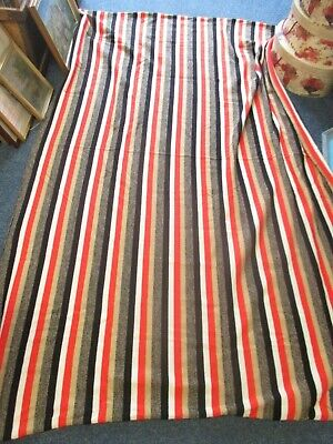 83  X 60  Vintage Striped Wool Machine Knitted Fabric Length Bed, Beige, Black • 30£