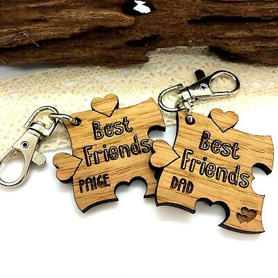 SET OF 2 X PERSONALISED OAK WOODEN BEST FRIENDS JIGSAW PUZZLE KEYRINGS GIFT  • 4.95£