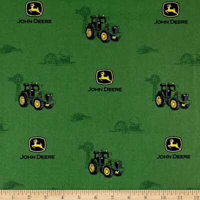 AU6.75 • Buy JOHN DEERE Dirt Tract Tractors Sewing Quilting Fabric On Green FQ