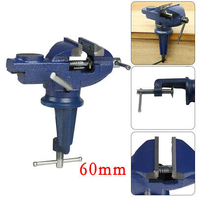 60mm MINI SWIVEL BENCH CLAMP Small Table Top Vice Rotating Base Flat Jaw UK • 10.45£