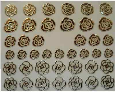 £1.75 • Buy 3D Nail Art Decals Transfer Stickers Silver Coloured Roses (3D6027)