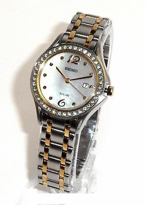 $ CDN129 • Buy SEIKO SOLAR $325 WOMEN Swarovski CRYSTAL WATCH MOP DIAL SUT312