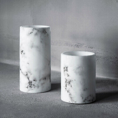 Set Of 2 Flameless Real Wax Battery LED Pillar Candles Marble Effect Lights4fun • 14.99£