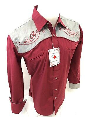 $27.99 • Buy Men RODEO WESTERN COUNTRY BURGUNDY GRAY PAISLEY Woven SNAP UP Shirt Cowboy 06615