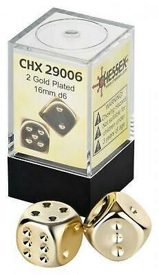 AU14.89 • Buy 16mm D6 Gold Metallic Dice, 2 Piece - Chessex Free Shipping!