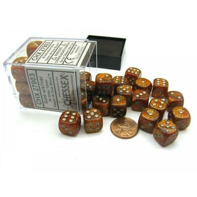 AU33.35 • Buy 36D6 Glitter D6 Gold/Silver Dot Dice - Chessex Free Shipping!
