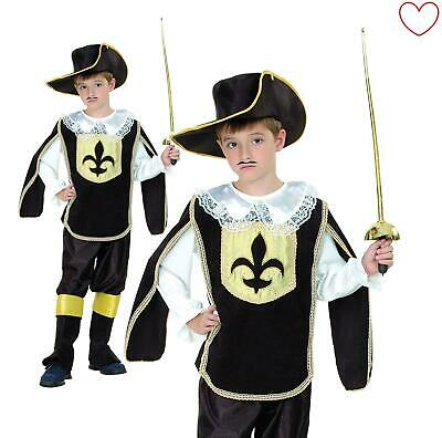 Child Fancy Dress Musketeer Costume Boys French Cavalier Book Day • 13.99£