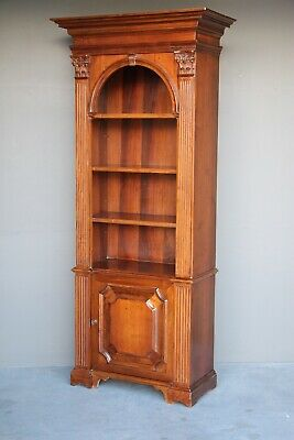 AU1775 • Buy Impressive Antique Walnut Open Bookcase Carved Columns Georgian Display Cabinet
