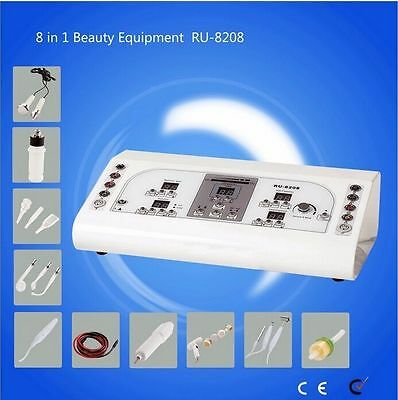 8 In1 High Frequency Vacuum Rotary Brush Facial Machine Galvanic Spray Spa Care • 293.60£