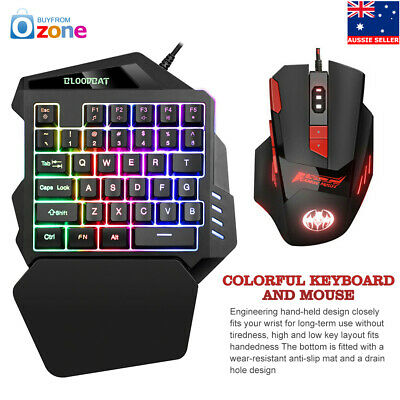 AU39.95 • Buy 8 Color RGB One-handed Game Keyboard Mouse Set USB For PS4 Xbox One 360 Gaming