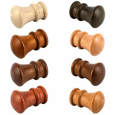 Monako Wooden Finials 28mm Wood Curtain Pole Finials End 2 PCS - Various Colors • 6.79£