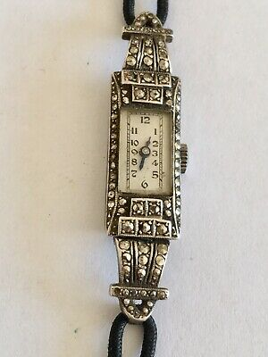 Art Deco Silver Marcasite Vintage Swiss Made Cocktail Watch C.1920's • 135£