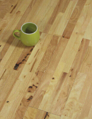 £0.99 • Buy Solid Wood Flooring 4 Strip Natural Hevea Rubberwood T&G Rustic UV Lacquered