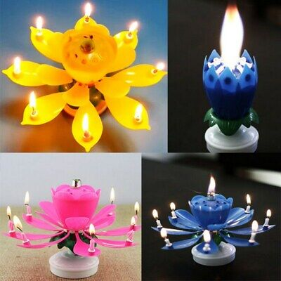 $ CDN3.79 • Buy Cake Topper Birthday Lotus Flower Decoration Candle Blossom Musical Rotating New