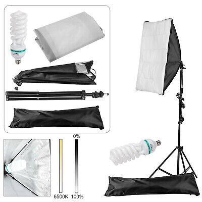 Photography Studio 135W Softbox Continuous Lighting Stand Kit Photo Video UK • 26.99£